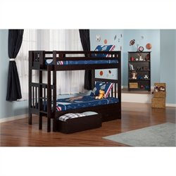 Atlantic Furniture Cascade Bunk Bed in Espresso with 2 Storage Drawers