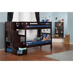 Atlantic Furniture Cascade Staircase Bunk Bed in Espresso