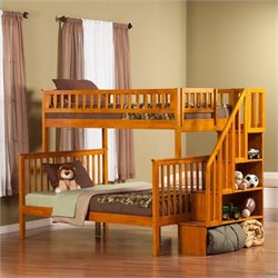 Atlantic Furniture Woodland Staircase Bunkbed in Caramel