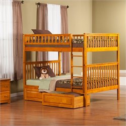 Woodland Bunk bed with 2 Raised Panel Bed Drawers in Caramel