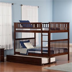 Woodland Bunkbed with Twin Raised Panel Trundle Bed in Walnut