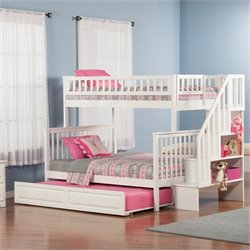 Atlantic Furniture Woodland Slat Bunk Bed with Trundle Bed in White