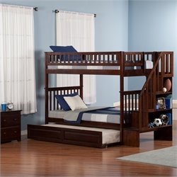 Woodland Staircase Bunk Bed with Twin Raised Panel Trundle Bed in Walnut