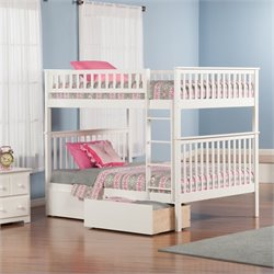 Woodland Bunk Bed with 2 Urban Lifestyle Bed Drawers in White