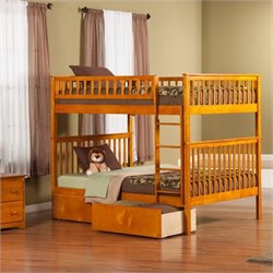 Woodland Bunk Bed with 2 Urban Lifestyle Bed Drawers in Caramel