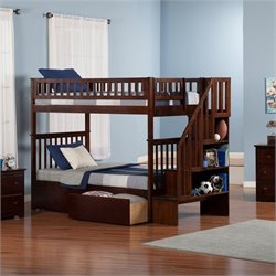 Woodland Stair Bunk Bed with 2 Urban Lifestyle Bed Drawers in Walnut