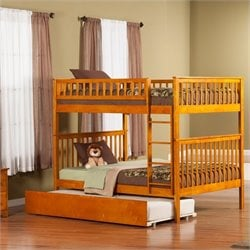 Atlantic Furniture Woodland Bunk Bed with Trundle Bed in Caramel