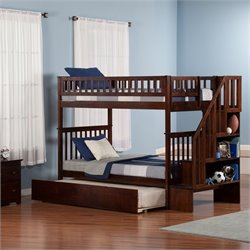 Atlantic Furniture Woodland Staircase Bunk Bed with Trundle Bed in Walnut