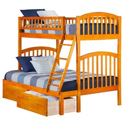 Atlantic Furniture Richland Bunk with UBD in Caramel Latte