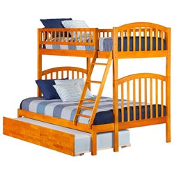 Atlantic Furniture Richland Bunk with Trundle in Caramel Latte