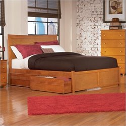 Atlantic Furniture Miami Platform Bed with Trundle in Caramel Latte