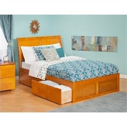 Atlantic Furniture Portland Bed with Trundle in Caramel Latte