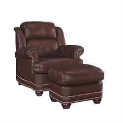 Accent Chair and Ottoman in Brown