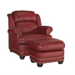 Accent Chair and Ottoman in Red