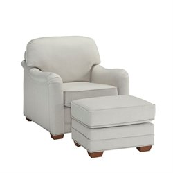 Accent Chair and Ottoman in Off White