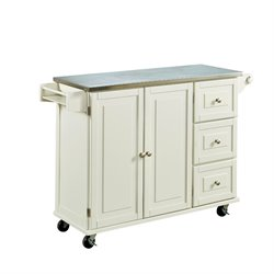 Kitchen Cart with Stainless Steel Top in White