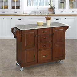 Granite Kitchen Cart in Cherry
