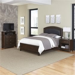 3 Piece King Leather Panel Bedroom Set
