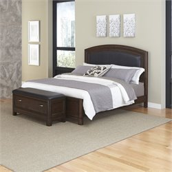 2 Piece King Leather Panel Bed