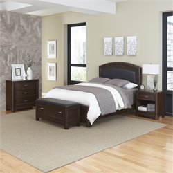 4 Piece King Leather Panel Bedroom Set