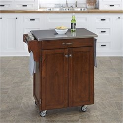 Kitchen Cart in Cherry with Stainless Steel Top