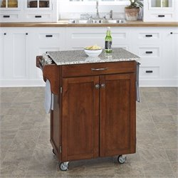 Kitchen Cart in Cherry with Salt & Pepper Granite Top