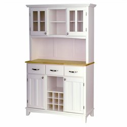 Furniture Wood Top Buffet Server and 2-Door Hutch in White