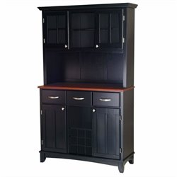Wood Buffet with Cherry Wood Top and 2-Door Hutch in Black