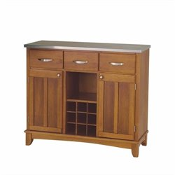 Furniture Cottage Oak Base and Stainless Steel Top Buffet