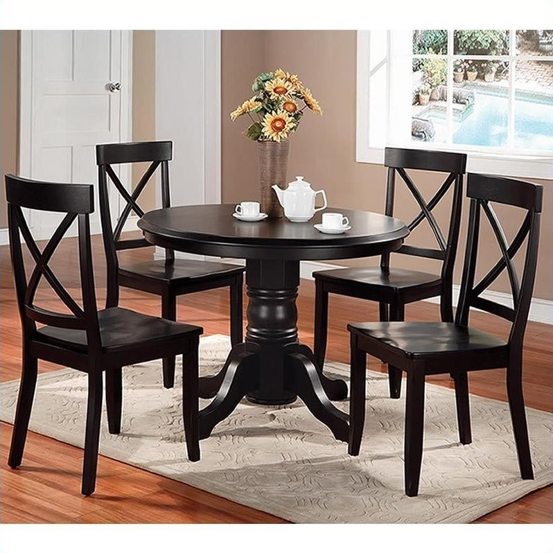 Casual Contemporary Dark Wood Dining Table Chairs Dining: Furniture Wood Casual Pedestal In Black Finish