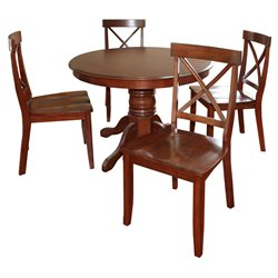 Classic 5 Piece Round Dining Set in Rustic Cherry