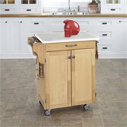 Quartz Top Kitchen Cart in Natural