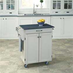 Quartz Top Kitchen Cart in White