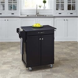 Quartz Top Kitchen Cart in Satin Black