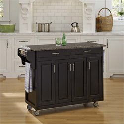 Quartz Top Kitchen Cart in Black