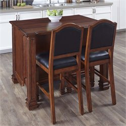 Kitchen Island and 2 Stools in Distressed Cognac