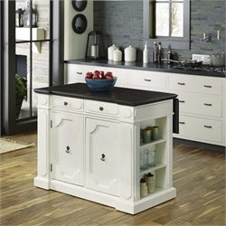 Fiesta Wood Top Kitchen Island in Distressed White