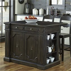 Hacienda Granite Inset Top Kitchen Island in Distressed Walnut