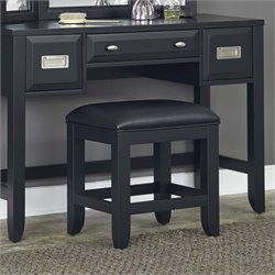 Home Styles Prescott Faux Leather Vanity Stool in Black
