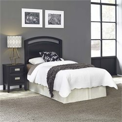 Prescott Panel Headboard and Nightstand in Black