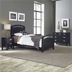 Home Styles Prescott 3 Piece Twin Panel Bedroom Set in Black
