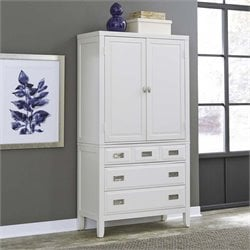Home Styles Newport 2 Door 3 Drawer Armoire in White