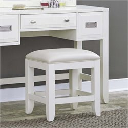 Home Styles Newport Faux Leather Vanity Stool in White