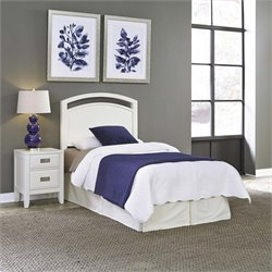 Newport Panel Headboard and Nightstand in White