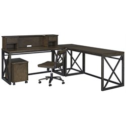 Xcel L Shaped Writing Desk in Copper