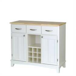 White Buffet with Natural Wood Top