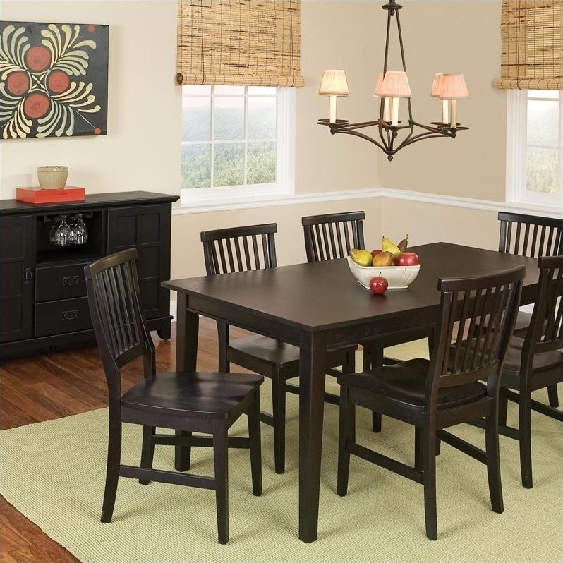 8 Piece Dining Set with Buffet in Ebony
