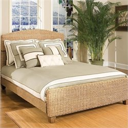 Natural Woven Queen Panel Bed in Honey