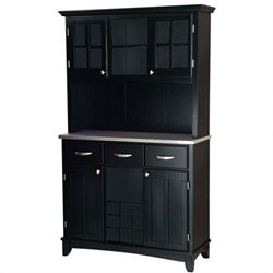 3 Drawer Black Wood Buffet with Stainless Steel Top and Hutch