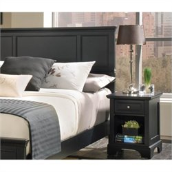 Queen Wood Panel Headboard 2 Piece Bedroom Set in Ebony